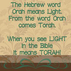 The root word for Torah is Orah which means Light, so every time you see LIGHT in your Bible it means TORAH
