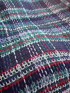 Easy- to- crochet Tartan Rug. Free pattern. Published July 1960 in The Australian Women's Weekly.