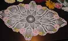 Brand new oval crochet doily with flowers by KroneCrochet on Etsy, $82.70