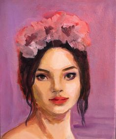 This is the first in a series of portraits of models wearing floral crowns. Buy Art Online, Impressionism, Buy Art, Inspiration, Painting, Oil Painting, Art, Portrait