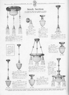 R.Williamson and Co. Circa 1910. Vintage and Antique Chandeliers, Wall Sconces, Table Lamps, Industrial and Bathroom