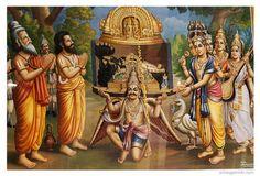 srirangam golden vimana Brahma handing over the Pranavakara vimana, Sri Gardua on position and fly to reach ayodiya deliver to sri rama.