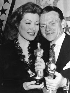 "1942 GREER GARSON  Best actress Oscar winner for the movie ""Mrs. Miniver"".  Here with James Cagney also Oscar winner, Best Actor that year."