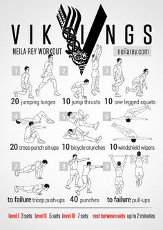 "Vikings Workout. So this is how this works: it says ""Vikings"" on it, so I'm totally doing this one first. No relation to the show, or anything really, but it says ""Vikings"" so, yeah... workout plans, workouts #workout #fitness"