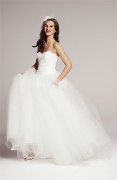 Theia Strapless Lace & Tulle Ballgown | #Nordstrom #weddings
