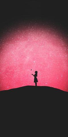 Starry night, girl, outdoor, silhouette, wallpaper - My Wallpaper Graffiti Wallpaper, Scenery Wallpaper, Painting Wallpaper, Cute Wallpaper Backgrounds, Pretty Wallpapers, Galaxy Wallpaper, Girl Wallpaper, Galaxy Painting, Galaxy Art