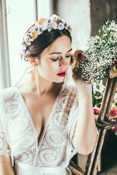 Couture-Crown Mila — We Are Flowergirls Flower Crown Bride, Bride Flowers, Wedding Flowers, Wedding Dresses, Handmade Flowers, Couture Collection, Bouquet, Vintage, Bridal