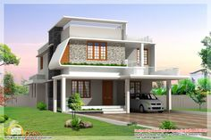 Contemporary House Plans   beautiful modern home elevations   Indian Home Decor