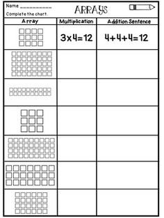 27 Multiplication Arrays Worksheets Multiplication Arrays Worksheets The kids can enjoy Number Worksheets, Math Worksheets, Alphabet Worksheets, Colo. Array Worksheets, 2nd Grade Math Worksheets, Multiplication Activities, Math Games, Math Math, Math Fractions, Multiplication Chart, Division Activities, Number Worksheets