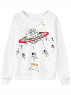White Round Neck Space Patterned Print Sweatshirt 15.11