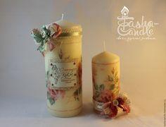 """Купить Свечи интерьерные """"Шебби шик"""" - кремовый, свеча, свеча ручной работы, Декупаж"""