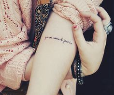 I'm newly obsessed with the idea of a forearm tattoo. Something simple, maybe script. Hmm.