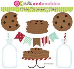 Erin Bradley Designs: NEW COLLECTION! Milk & Cookies Clipart & Digital Papers