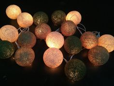 20 ,35 Cotton Balls Navy Green Color Fairy String Lights Party Patio Wedding Floor Table or Hanging Gift Home Decoration