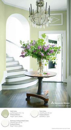 Guilford Green and Chantilly Lace liven up any space in the home. Love this for the foyer. Benjamin Moore's Regal Select Waterborne Interior Paint. [ad]