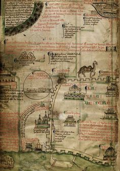 Detail of a section of an illustrated itinerary to Jerusalem, showing the cities of Damascus, Antioch and Acre. Historia Anglorum, Chronica majora, Part III; Continuation of Chronica maiora by Matthew Paris, ca 1250-1259