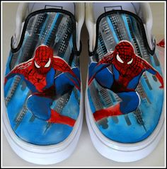 Painted Spiderman shoes--Painted Converse/Painted Generic- Custom Painted Chuck Taylors or generic brand shoes are Artist Made Spiderman Shoes. No matter which brand you choose, these high top shoes make amazing one of a kind fan art for the Spiderman enthusiast. Each shoe is made to order for men, women, boys, or girls! This is listing is for Men's/Women's Converse Shoes.    Generic shoes are an option if you are budget conscious. Just convo me for pricing and availability.  Feel free to…