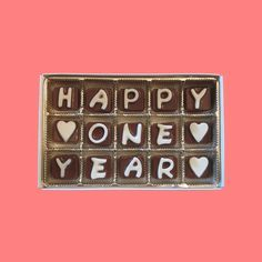 Happy 1 Year One Cubic Chocolate Letters Cool by chocolatesays