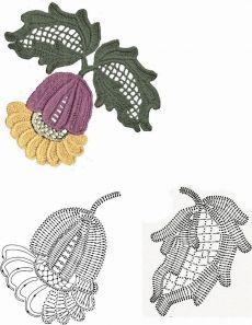 irish crochet motifs Crochet: crochet flowers and leaves (Irish lace) Irish Crochet Patterns, Crochet Motifs, Crochet Diagram, Freeform Crochet, Crochet Chart, Crochet Designs, Crochet Stitches, Crochet Leaves, Crochet Flowers