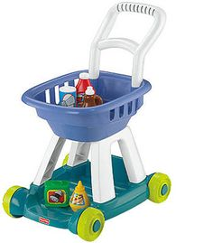 The classic Fisher-Price Shopping Cart - Blue is a wonderful addition for pretend play. The push-along shopping cart has a large bin and lower shelf for lots of grocery items. Ages 2-6.<br><br>Since 1930, <b>Fisher-Price</b> has been in business to create toys that fascinate and stimulate a child's imagination. <b>Fisher-Price</b> was founded in 1930, hardly the best time to launch a new business as the shadows of the Depression still loomed over American business. Still, Herman Fisher…