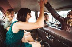 Girl Friends Having Fun on Road Trip stock photo