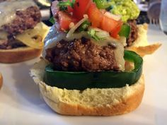Spicy Pico Bison Sliders { Recipe } - The Bison Girl Bison Recipes, Bison Meat, Slider Recipes, Hamburger, Spicy, Beef, Ethnic Recipes, Food, Essen