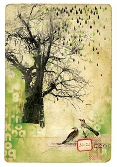 @Studio Calico via #Gracie Swainson. I adore this. A tree, birds, and the soft nature of this is just lovely!