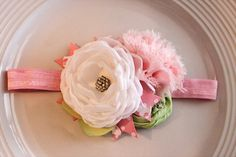 Whitepale pink and green headband by JensBowdaciousBows on Etsy, $14.95