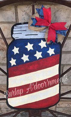 Patriotic Mason Jar Burlap Door Hanger and Wreath Replacement