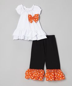 Take a look at this White Top & Black Polka Dot Pants - Infant, Toddler & Girls by Royal Gem on #zulily today!