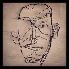 Wire art by Frank M Baker. Wire drawing www.frankbakerart.com