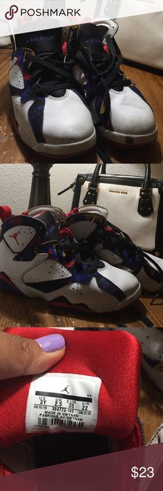 Children Jordans size 3Y In good condition.. can be cleaned/washed easily. No damage such as holes or over used signs.. just usually signs of dirt when used especially in the white part of the shoes.. other than that its good condition.. Jordan Shoes Sneakers