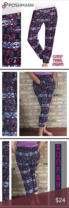 """Bohemian Cozy Joggers S NWT Adorable cropped tribal printed joggers in navy, berry, white & mint. Front pockets - elastic waist & ankles. Inseam 26"""" Stretchy poly/spandex blend can be worn all year long. Small 2/4 Pants Track Pants & Joggers"""
