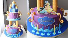 Aladdin and Jasmine birthday cake tutorial by Silvia Garcia. Jasmine Birthday Cake, Aladdin Birthday Party, Cool Birthday Cakes, Princess Birthday, 5th Birthday, Jasmine E Aladdin, Princess Jasmine Cake, Jasmin Party, Aladdin Cake