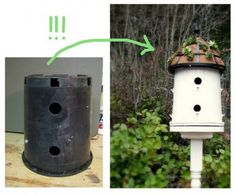 A birdhouse is made possible as a second life project for the old plastic potting materials.