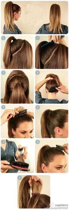 DIY hair tutuorial half up half down ponytail