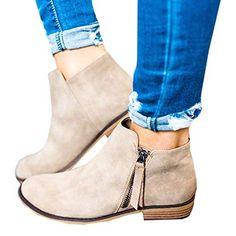 07e6a84a3df7 Boots Femme Daim Bottine Femmes Plates Basse Cuir Bottes Chelsea Chic  Compensées Grande Taille Talon Chaussures 2.5cm Beige Gris Noir 35-43   Amazon.fr  ...