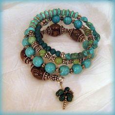 GreenLeaf -.Memory Wire Bracelet. $128.00, via Etsy.