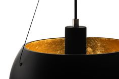 MOMO black matte lampshade with gold leaves inside