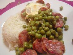 As Minhas Receitas: Ervilhas com Ovos Escalfados - Peas, chorizo and poached eggs - Portuguese easy food