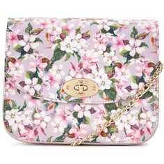 Lydc Floral Print Crossbody Bag ($40) ❤ liked on Polyvore featuring bags, handbags, shoulder bags, bolsos, chain shoulder bag, handbags shoulder bags, shoulder strap handbags, purse crossbody and man bag