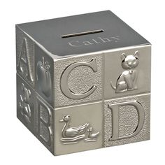 Personalized Polished Finish Alphabet Block Metal Bank-Our ABC Block Bank is a traditional keepsake gift featuring raised alphabet letters with corres Personalised Teddy Bears, Personalized Piggy Bank, Personalized Gifts, Money Jars, Alphabet Blocks, First Birthday Gifts, Cufflink Set, Engraved Gifts, Geek Gifts