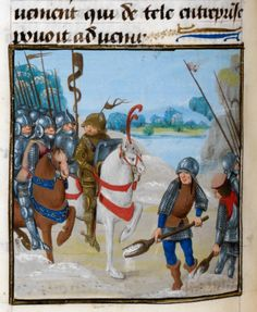 Royal 17 F. II, illustrated by the Master of Edward IV. This manuscript contains La grant hystoire Cesar, and was made in 1479. F. 116v shows the winter march of Caesar's army, with foot-soldiers seen shovelling the snow from under the feet of Caesar's horse