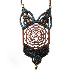 Merkaba Boho Wedding Necklace, Jewish Jewelry, Merkaba wood necklace, Macrame necklace, Sacred Geometry jewelry, Yoga jewelry, Macrame art by GoaLaserFactory on Etsy