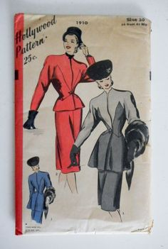 """Vintage 1940s Hollywood Pattern 1910 Two Piece Suit Pattern 38"""" Bust-Factory Folded"""