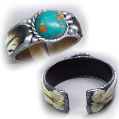 Two views of the faux turquoise and eagle feather faux silver bracelet.