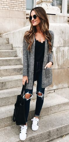 #fall #outfits women's gray cardigan; distressed blue denim fitted jeans; pair of white-and-black Adidas Superstars low-top sneakers