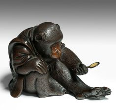 JAPANESE BRONZE MONKEY Just Japanese antiques are based in Chichester, England.