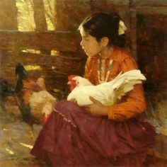 Navajo Girl -painting with chicken instead of dogs