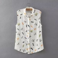 Tienda Online New Fashion Summer Women's Elegant Dragonfly Insect Print Sleeveless Chiffon Blouses Casual Ladies Slim Brand Shirts Tops Fabric Paint Shirt, Boutique Tops, Branded Shirts, Plus Size Blouses, Trendy Dresses, White Tops, Spring Outfits, Camisa China, Casual